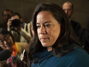 Jody Wilson-Raybould speaks with the media after appearing infront of the Justice committee in Ottawa on February 27, 2019. Jody Wilson-Raybould is telling her Vancouver constituents she still intends to run for re-election this fall as a Liberal. The former justice minister and attorney general quit Justin Trudeau's cabinet last month and has testified that he and his staff pressured her inappropriately to try to help engineering firm SNC-Lavalin avoid a trial on corruption charges.
