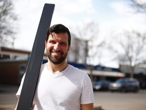 "Jeff Halaby of Spotlight Cabaret poses for a photo in Edmonton on April 13, 2019. Halaby, known colloquially as ""2x4 Guy"", intervened with other Whyte Avenue people after a man set fire to 13 cars on April 12, 2019."