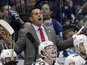 Coach Bob Boughner behind the bench of the Florida Panthers during an Oct. 6, 2018 NHL game in Tampa, Fla.
