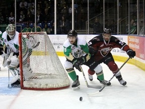 Vacouver Giants forward Jadon Joseph on the forecheck against the Prince Albert Raiders in Game 1 on Friday. The Giants split the first two games of the series in Prince Albert and return home to the Langley Events Centre on Tuesday.