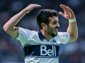 Felipe Martins reacts after a play gone awry during an MLS game against the Seattle Sounders at B.C. Place Stadium earlier this season.