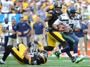 Sep 15, 2019; Pittsburgh, PA, USA; Seattle Seahawks quarterback Russell Wilson (3) runs the ball against the Pittsburgh Steelers during the fourth quarter at Heinz Field. Mandatory Credit: Philip G. Pavely-USA TODAY Sports