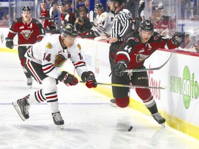 Defenceman Bowen Byram of the Vancouver GIants, right, works along the boards Friday night while being checked by Jake Gricius of the Portland Winterhawks. The GIants lost 4-2 at Langley Events Centre.