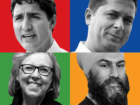 Clockwise: Liberal Leader Justin Trudeau, Conservative Leader Andrew Scheer, NDP Leader Jagmeet Singh and Green party Leader Elizabeth May in a Postmedia News illustration.