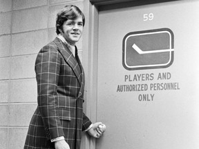 Vancouver Canucks' best dressed hockey player Dale Tallon for fashion section. November 20, 1970. Deni Eagland  (70-2850) [PNG Merlin Archive]