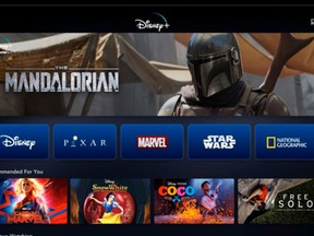 The Disney Plus launch screen on a tablet.