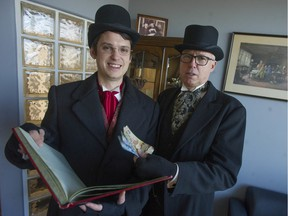 Kyle Murray, left, dressed as Bob Cratchit, and Wayne Kuyer, as Jacob Marley, of the chartered accountants Kuyer & Associates in Langley, will be collecting donations for the city's Christmas bureau and the Province Empty Stocking Fund beginning Dec. 10.