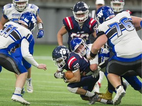 Vernon (9-0 overall, 4-0 in conference) beat the No. 2 ranked Ballenas Whalers 37-0 on Saturday in the semifinal of the B.C. high school football championships at B.C. Place Stadium in Vancouver. Pictured is Panthers' Ethan Greenan being tackled.