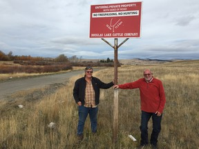 Rick McGowan and long-time neighbour Harry Little, on the Douglas Lake ranch.