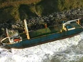 A handout taken from footage released by the Irish Coast Guard on February 17, 2020 and recorded on February 16, 2020 shows the abandoned MV Alta cargo ship on the rocks off the coast of Ballycotton near Cork in Ireland.