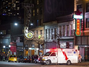 An ambulance in Vancouver's Downtown Eastside.