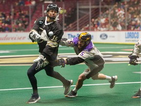 Mitch Jones of the Vancouver Warriors, left, is looking to pad his lead in the NLL scoring race on Saturday when his squad faces the San Diego Seals in California.