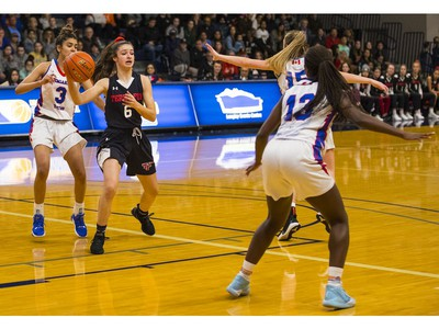 Terry Fox Ravens #6 Alisha Weloy at the B.C. high school basketball provincials  at the Langley Events Centre, Feb. 29, 2020. Photo credit: Francis Georgian   /  PNG staff