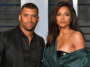 Russell Wilson and Ciara attend the 2018 Vanity Fair Oscar Party hosted by Radhika Jones at Wallis Annenberg Center for the Performing Arts in Beverly Hills, Calif., March 4, 2018.