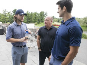 Player agent Allan Walsh, centre, with clients Max Pacioretty, right and Jonathan Drouin. Walsh says there are a lot of questions and not many answers about COVID-19's impact on the NHL and its business.