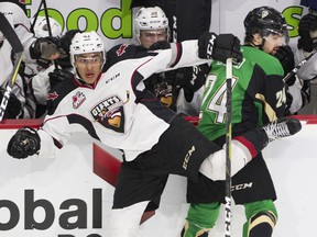 Justin Sourdif of the Vancouver Giants, left, isn't losing sleep over the 2020 NHL Entry Draft — or so he says. Central Scouting ranked him as the 23rd best North American skater heading into the draft.