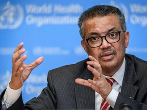 World Health Organization (WHO) Director-General Tedros Adhanom Ghebreyesus attends a daily press briefing on COVID-19 at the WHO headquaters in Geneva on March 11, 2020.