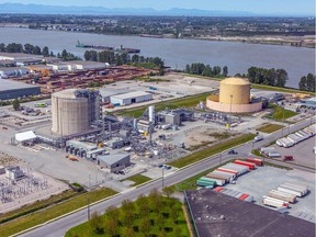 An aerial photo of Fortis B.C.'s liquefied natural gas production and storage facility on Tilbury Island in Delta. Fortis B.C. uses the plant as backup storage to help meet peak natural gas demand in the Lower Mainland and produce LNG as fuel in marine and truck transportation.