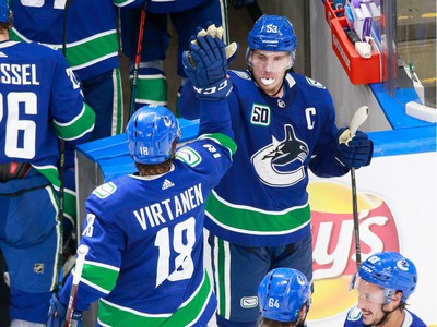 Bo Horvat #53 and Jake Virtanen #18 of the Vancouver Canucks celebrate their 4-3 victory in Game 2.