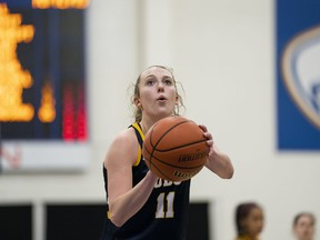 Then-UBC Thunderbirds guard Jessica Hanson prepares to take a free throw during a U Sports women's game against the Trinity Western University Spartans at War Memorial Gym on the UBC campus.