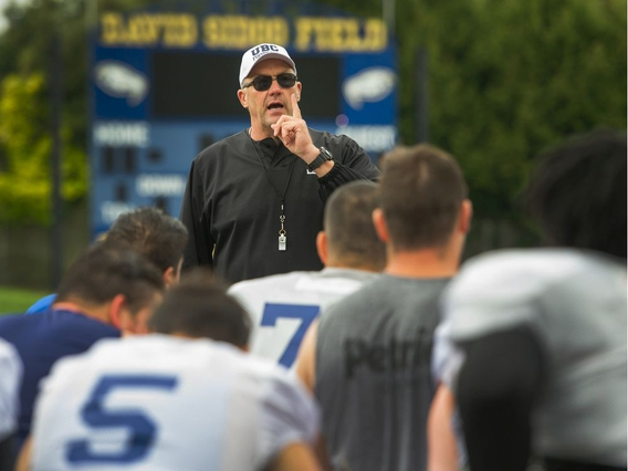 VANCOUVER, BC - August 21, 2019 - UBC football coach Blake Nill directing the troops at UBC's Thunderbird Stadium in Vancouver, BC, August 21, 2019. (Arlen Redekop / PNG staff photo) (story by Steve Ewen) [PNG Merlin Archive]