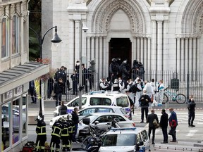 Security forces guard the area after a knife attack at Notre Dame church in Nice, France, October 29, 2020.