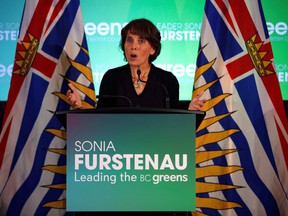 Sonia Furstenau, Leader of the B.C. Green Party, speaks at a news conference following the provincial election results in Victoria.