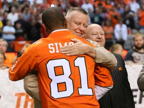 The late B.C. Lions team owner David Braley embraced Geroy Simon at the start and end of his playing career in Vancouver.