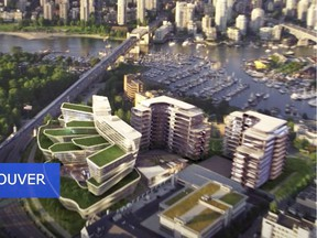 This is a rendering of Concord Pacific's Quantum Park development. The renderings show the development as being located on the former Molson Brewery lands in Kitsilano.