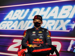 Red Bull's Max Verstappen in the post qualifying FIA Press Conference at the Abu Dhabi Grand Prix in Abu Dhabi, United Arab Emirates, Dec. 12, 2020.