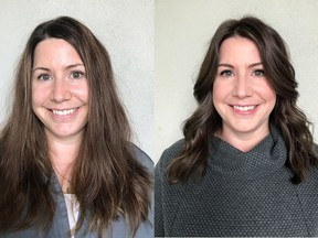 Sarah McCrimmon is a 41-year-old registered nurse with hair that needed intensive care. On the left is Sarah before her makeover by Nadia Albano, on the right is her after.