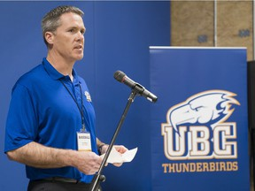 VANCOUVER, APRIL 15, 2018 -- UBC baseball coach Terry McKaig at the official opening of the UBC Baseball Rose Indoor Training Centre.