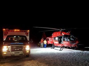 Crews rescue a climber who fell 12 metres while ice climbing near Abraham Lake on Friday, Jan. 15 2021.