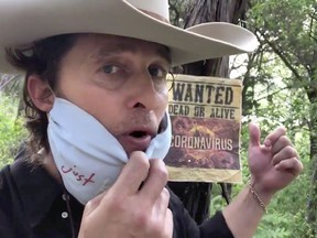 """Actor Matthew McConaughey appears as """"Bobby Bandito"""", teaching people how to make a mask, in a social media video, uploaded April 13, 2020."""