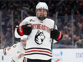 Aidan McDonough celebrates after scoring a goal during the second period of the 2020 Beanpot Tournament Championship game between the Northeastern Huskies and the Boston University Terriers at TD Garden on February 10, 2020 in Boston, Massachusetts.