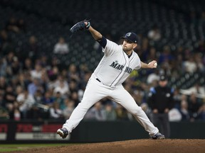James Paxton of the Seattle Mariners delivers against the Oakland Athletics in the seventh inning at Safeco Field on May 2, 2018 in Seattle, Washington.