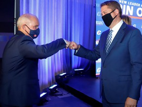 Conservative Leader Erin O'Toole, left, isn't as popular as his predecessor, Andrew Scheer (right) at the same point in their respective tenures.