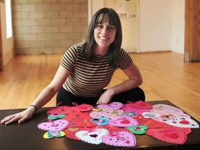 Daniela Gunn-Doerge with a selection of Valentine's cards for seniors in long-term care homes. 'The small act of creating a card has a huge impact on both the maker of the card and the receiver of the card,' she says.