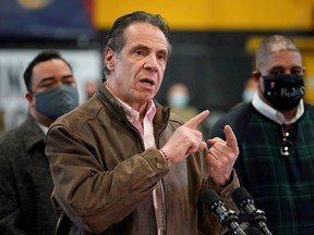 New York Governor Andrew Cuomo speaks during a news conference at a vaccination site in the Brooklyn borough of New York, February 22, 2021.