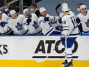 The Toronto Maple Leafs celebrate a second period goal by forward Jason Spezza against the Edmonton Oilers on February 27.