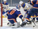 Buffalo Sabres centre Eric Staal (12) tries to shoot the puck against New York Islanders goalie Ilya Sorokin during NHL action at Nassau Veterans Memorial Coliseum on March 4.