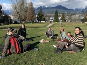 """VANCOUVER, B.C.: March 11, 2021 -- Undated Handout of proponents of a new """"urban food forest"""" in Burrard View Park in Hasting-Sunrise neighbourhood Vancouver. Pictured, from left to right, Brandon Bauer, Marie-Pierre Bilodeau, Omri Haiven, Zoe Beynon-MacKinnon and Luis Almazan. (Submitted). For Sue Lazaruk story [PNG Merlin Archive]"""