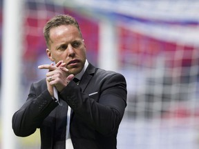 Whitecaps coach Marc Dos Santos on the sidelines at B.C. Place Stadium in 2019.