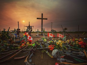 Road-side memorial near Nipawin, Sask., where a Humboldt Broncos bus collided with a semi-trailer truck on April 6, 2018.