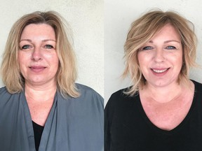 Helen Karas is self-employed and felt it was time to invest in herself at the age of 52 with a fresh new look. On the left is Helen before her makeover by Nadia Albano, on the right is her after. Photo: Nadia Albano. For Nadia Albano's makeover column on April 11, 2021.