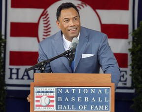 Roberto Alomar gives his speech at Clark Sports Center during the Baseball Hall of Fame induction ceremony on July 24, 2011 in Cooperstown, New York.