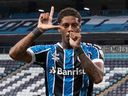 Brazil's Gremio Jean Pyerre celebrates after scoring against Ecuador's Independiente del Valle during the Copa Libertadores tournament qualifying-round match at Gremio Arena in Porto Alegre, Brazil, last week. The Brazilian playmaker has been linked to the Vancouver Whitecaps.