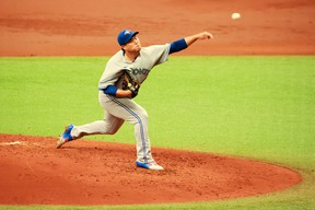 Blue Jays starting pitcher Hyun-Jin Ryu delivers during the second inning against the Tampa Bay Rays at Tropicana Field on April 25, 2021 in St Petersburg, Fla.
