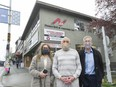 West 4th Avenue commercial property owners, from left, Franci Stratton, Arnold Nemetz and Steve Nemetz, outside their headquarters in Vancouver on April 7.