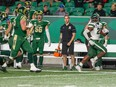 Nelson Lokombo watches the Regina Rams try to catch him after he intercepted a ball in the USports matchup.